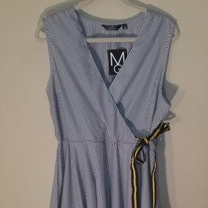NWT Mlle Gabrielle White/Blue Summer Dress